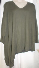 NEW WOMENS PLUS SIZE 4X MOSSIMO OLIVE GREEN ASYMMETRICAL TUNIC SWEATER V NECK