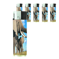 Butane Refillable Electronic Lighter Set of 5 Elephant Design-007 Custom Animals