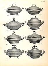 Stampa antica argenteria ZUPPIERE in ARGENTO Boulenger 1890 Old print silverware
