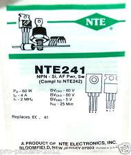 Nte Nte241 Transistor,Bjt,Npn,80V V(Br)Ceo,4A I(C),To-220 Rohs Compliant