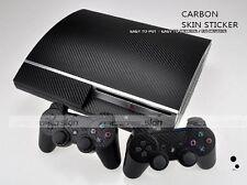 Black Carbon Fiber Skin Sticker Sony PS3 PlayStation 3 and 2 controller skins