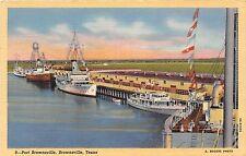 Texas postcard Brownsville, Port Brownsville ships boats at dock