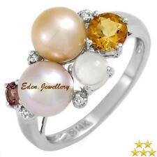 US$919 High Quality Ring Diamonds Citrine Moonstone Pearl 14K Gold SALE 75% OFF