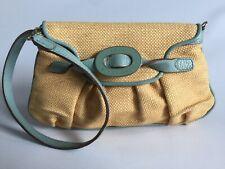 Anya Hindmarch Beige Braided Raffia Clutch Bag w/ Turquoise Leather Trim