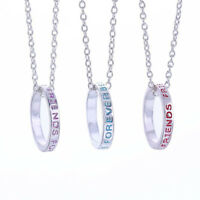 3pcs Friendship Necklace Set BEST FRIENDS FOREVER Print Ring Pendant Necklace