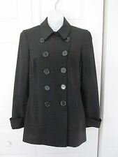 BEBE Black Double Breasted Peacoat Faux Back Belt Lined sz 8 Belted Cuffs MINT