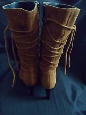 New **100% Suede**EKOS** Mid Calf Italian Tan Boots with Laced Legs UK 3 / EU 36