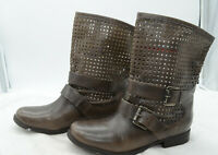 Steve Madden Womens Sz 9 Harness Brown Leather Boho Biker Ankle Boots Booties