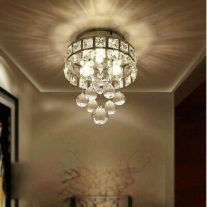 Chrome Crystal LED Ceiling Lights Aisle Lamp Fixtures Pendant Chandelier