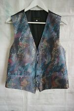 "Mens Vintage FOLKESPEARE Waistcoat Blue Abstract Silky - Medium 40"" Chest"