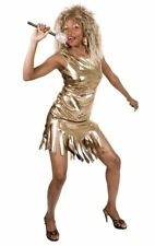 Womens Gold Tina Turner Rock Queen Costume Pop Star 80s Fancy Dress Outfit
