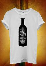 Save Water Drink Wine Cool Hipster Men Women Unisex T Shirt Tank Top Vest 481