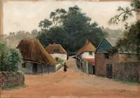 COCKINGTON VILLAGE NEAR TORQUAY DEVON Antique Watercolour Painting c1920 SIGNED