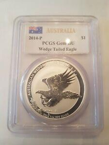 Zertifizierte Silbermünze - Wedge Tailed Eagle PCGS-BU aus 2014