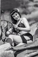 Jeep Willys Nice Sexy Woman Risqe Vintage Retro War Photo WW2 Size 4x6 Q
