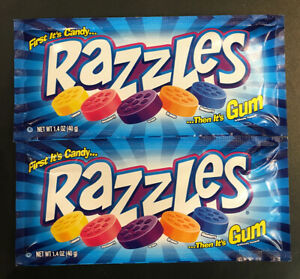 Qty: 2 x Razzles First Candy then its Gum Lollies 40g