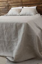 White or Natural 100% Linen Bedding Set - 2 Sheets and 2 Pillowcases