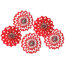 RED POLKA DOT CHEVRON PAPER FAN DECORATIONS (5) ~ Birthday Party Supplies Girl