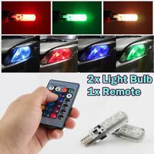 2x T10 W5W RGB LED Bulbs 5050 6SMD Remote Controller Flash/Strobe Wedge Light