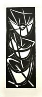 Reinhard Heinemann: Drei Boote. [1954]. Signierter Original-Holzschnitt.