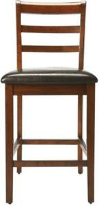 PUB TABLE DRINKS TRANSITIONAL BLACK BROWN DISTRESSED FAUX LEATHER FABRIC