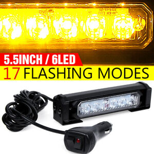 "Amber 5.5"" 6 LED Warning Emergency Beacon Strobe Light Bar Flash Lamp Waterproof"