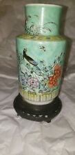 Vintage Wang Yui Tai Tea Co Blue Green Floral Famille rose Porcelain Tea Vase