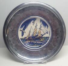 Rare Vintage Krome Kraft Farber Bros Moby Dick Ship Decorative Plate New York Ny