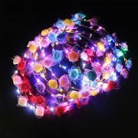 LED Light Up Flower Headband Hair Wreath Garlands for Wedding Festival Party v