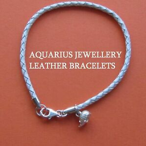 3 mm BRAIDED WHITE LEATHER BRACELET WITH 925 STERLING SILVER HEDGEHOG CHARM