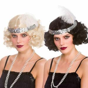 Ladies Blonde Brown 1920s Wig WW2 Gatsby Flapper 20s Fancy Dress Movie Star
