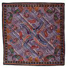 SANTOSTEFANO Paisley Purple Black Silk Pocket Square Handkerchief NWT 150
