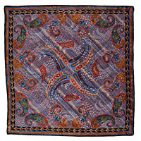 SANTOSTEFANO Paisley Purple Black Silk Pocket Square Handkerchief NWT $150!