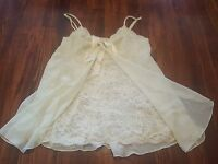 Victoria's Secret Vintage Nightie Baby Doll Chemise Green Large Lace