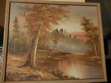 Oil on Canvas Painting of Trees & Lake by Snowy Mountains signed Roger Brown COA