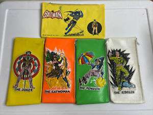 vintage rare htf batman Joker and villians pencil pouch case holder lot of 5