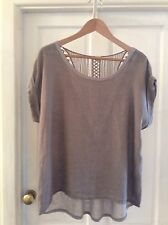 AMBRA Made In Italy LAGENLOOK  Linen Front Dip Hem Top. SIZE M
