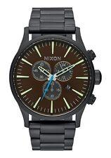 New Nixon Sentry Chronograph Steel Bracelet Black/Brown Men's Watch A3862209