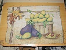 Basket of Yellow Pears & Purple Eggplants Tapestry Pillow Top Fabric Piece