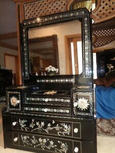 Vintage Mother Of Pearl and Black Lacquer Ladies Bureau with Mirror JapaneseL@@k