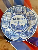 Vintage Old Economy Village AMBRIDGE PA blue/white Plate with hanger Pictoiral