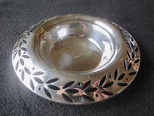Vintage Sterling Silver Punched Leaf Pattern Nut Candy Dish 86 Grams Monogrammed