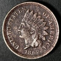 1862 INDIAN HEAD CENT - With LIBERTY - VF VERY FINE Details