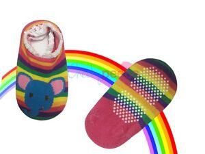Cute Rainbow Elephant Baby Toddler Anti-Slip/Skid Socks Grip Slippers 12-24m