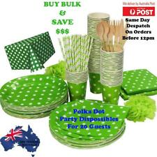 Bulk Green Polka Dot Party Supplies Pack Table cover,Plates,Glasses & Napkins