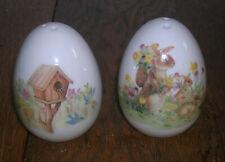 Cracker Barrel Easter Treasures Bunny Rabbit Birdhouse Salt & Pepper Shakers