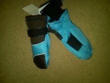 NWT GIRLS WATERPROOF INSULATED WINTERPROOF MITTENS TURQUOISE & BROWN SMALL 4/5