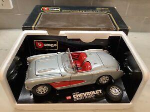 Burago 1/18 Scale Model Car 3024 - 1957 Chevrolet Corvette Silver/ Red Pre Loved