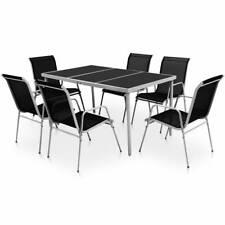 Vidaxl tavolo sedie da giardino 7 pz Nero Tavolino Seggiole sgabelli terrazzo