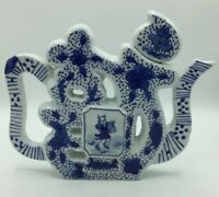 Vintage Rare Chinese Flat Ceramic Tea Pot Blue White